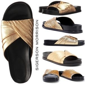Sigerson Morrison Amanda Gold Mule slide sandal